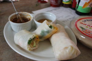 Thai Spring Rolls with dipping sauce and ingredients